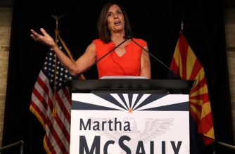 "(FILES) In this file photo taken on August 28, 2018 US Senate candidate US Rep. Martha McSally (R-AZ) speaks during her primary election night gathering at Culinary Drop Out at The Yard in Tempe, Arizona. - Arizona Republican Martha McSally conceded the razor-thin race for one of the state's US Senate seats to her Democratic opponent. ""I just called Kyrsten Sinema and congratulated her on becoming Arizona's first female senator after a hard-fought battle,"" McSally said in a video statement posted on Twitter on November 12. (Photo by JUSTIN SULLIVAN / GETTY IMAGES NORTH AMERICA / AFP)"