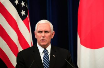 US Vice President Mike Pence delivers a statement after his meeting with Japan's Prime Minister Shinzo Abe (unseen) at the Prime Minister's official residence in Tokyo on November 13, 2018. (Photo by FRANCK ROBICHON / POOL / AFP)