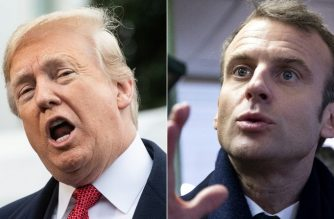 """(COMBO) This combination of pictures created on November 13, 2018 shows US President Donald Trump(L) speaking to the press before departing the White House for Paris on November 9, 2018 in Washington, DC, and French President Emmanuel Macron speaking as he meets with locals in a bar where he promised to return during his presidential campaign, in Lens, on November 9, 2018. - US President Donald Trump mocked Emmanuel Macron November 13, 2018 for his """"very low"""" 26 percent approval rating, saying the French president only suggested creating a European army to """"get onto another subject."""" """"The problem is that Emmanuel suffers from a very low Approval Rating in France,"""" Trump tweeted after criticizing Macron for advocating a European army to protect the continent from Russia, China and the United States.""""By the way, there is no country more Nationalist than France, very proud people-and rightfully so!"""" the US leader tweeted. """"MAKE FRANCE GREAT AGAIN!"""" (Photos by NICHOLAS KAMM and Etienne LAURENT / various sources / AFP)"""