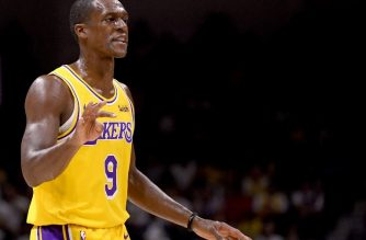 SAN DIEGO, CA - SEPTEMBER 30: Rajon Rondo #9 of the Los Angeles Lakers calls out a play during a preseason game against the Denver Nuggets at Valley View Casino Center on September 30, 2018 in San Diego, California.   Harry How/Getty Images/AFP