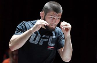 LAS VEGAS, NV - OCTOBER 03: UFC lightweight champion Khabib Nurmagomedov attends an open workout for UFC 229 at Park Theater at Park MGM on October 03, 2018 in Las Vegas, Nevada. Nurmagomedov will defend his title against Conor McGregor at UFC 229 on October 6 at T-Mobile Arena in Las Vegas.   Ethan Miller/Getty Images/AFP