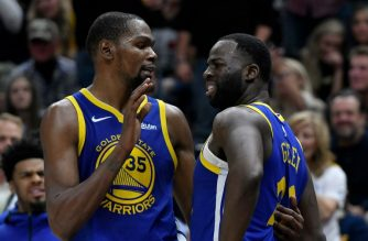 SALT LAKE CITY, UT - OCTOBER 19: Kevin Durant #35 of the Golden State Warriors tries to calm down teammate Draymond Green #23 after a foul in the second half of a NBA game against the Utah Jazz at Vivint Smart Home Arena on October 19, 2018 in Salt Lake City, Utah. NOTE TO USER: User expressly acknowledges and agrees that, by downloading and or using this photograph, User is consenting to the terms and conditions of the Getty Images License Agreement.   Gene Sweeney Jr./Getty Images/AFP