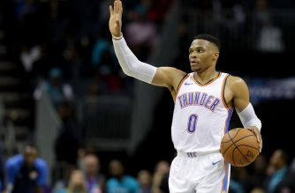 CHARLOTTE, NC - NOVEMBER 01: Russell Westbrook #0 of the Oklahoma City Thunder brings the ball up the court against the Charlotte Hornets during their game at Spectrum Center on November 1, 2018 in Charlotte, North Carolina. NOTE TO USER: User expressly acknowledges and agrees that, by downloading and or using this photograph, User is consenting to the terms and conditions of the Getty Images License Agreement.   Streeter Lecka/Getty Images/AFP