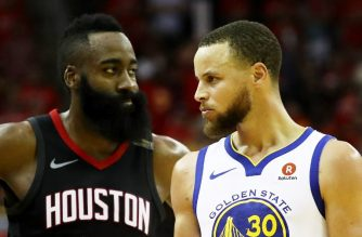 HOUSTON, TX - MAY 28: Stephen Curry #30 of the Golden State Warriors reacts as James Harden #13 of the Houston Rockets looks on in the third quarter of Game Seven of the Western Conference Finals of the 2018 NBA Playoffs at Toyota Center on May 28, 2018 in Houston, Texas. NOTE TO USER: User expressly acknowledges and agrees that, by downloading and or using this photograph, User is consenting to the terms and conditions of the Getty Images License Agreement.   Ronald Martinez/Getty Images/AFP