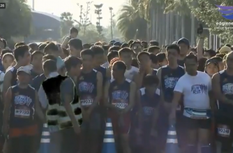 Participants line up before the start of the EBC Family Fun Run