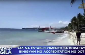 243 na establisyimento sa Boracay, binigyan ng accreditation ng DOT