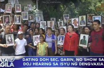 Dating DOH Sec. Garin, no show sa DOJ hearing sa isyu ng dengvaxia