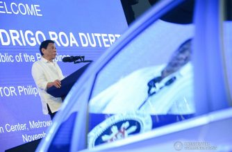 President Rodrigo Roa Duterte delivers his speech during the Guangzhou Automobile Group Co., Ltd. (GAC) Motor Philippines Brand Launch at the Metro Tent Convention Center in Metrowalk Complex, Pasig City on November 7, 2018. TOTO LOZANO/PRESIDENTIAL PHOTO