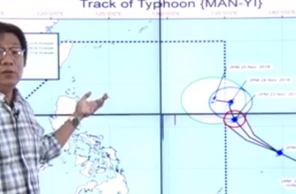 """Typhoon """"Man-Yi"""" is expected to enter the Philippine Area of Responsibility on Saturday night, Nov. 23, the Philippine Atmospheric Geophysical and Astronomical Services Administration said./PAGASA/"""