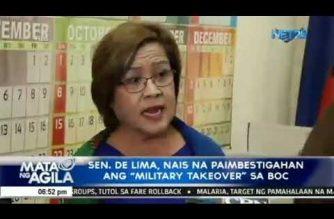 "De Lima seeks Senate probe of ""military takeover"" of BOC"