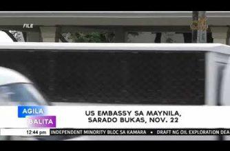 US Embassy in Manila closed on Thursday, Nov. 22