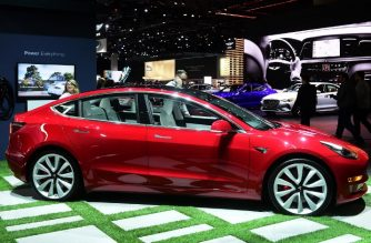The Tesla Model 3 on display in Los Angeles, California on November 29, 2018 at Automobility LA, formerly the LA Auto Show Press and Trade Days, which opens to the public from November 30 to December 9. (Photo by Frederic J. BROWN / AFP)