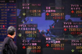 A man looks at a stock indicator board of the Tokyo Stock Exchange in Tokyo on December 3, 2018. (Photo by Martin BUREAU / AFP)
