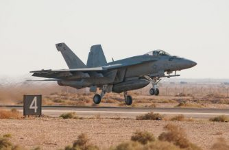 "(FILES):This October 26, 2010 photograph courtesy of the US Air Force shows a US Navy F-18 Super Hornet from Naval Air Station Oceana, Virginia Beach, VA, taking off for a training mission during the 2010 Falcon Air Meet at Muwaffaq Salti Air Base, Azraq,  Jordan. - Two US Marine Corps aircraft crashed during a refueling operation off the coast of Japan, a US defense official told AFP on Wednesday, December 5, 2018. The planes involved were an F-18 fighter and a C-130 tanker, the official said. In a statement, the Marine Corps said the planes had taken off from Marine Corps Air Station Iwakuni in southern Japan. Search and rescue operations were underway following a ""mishap."" (Photo by Wolfram M. Stumpf / US AIR FORCE / AFP) / == RESTRICTED TO EDITORIAL USE  / MANDATORY CREDIT:  ""AFP PHOTO /  US AIR FORCE / Tech. Sgt. Wolfram M. Stumpf"" / NO MARKETING / NO ADVERTISING CAMPAIGNS /  DISTRIBUTED AS A SERVICE TO CLIENTS  =="