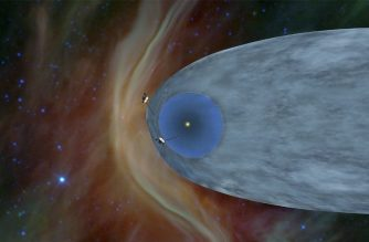 """This NASA artist's concept shows the general locations of NASA's two Voyager spacecraft, Voyager 1 (top) has sailed beyond our solar bubble into interstellar space, the space between stars, and Voyager 2 (bottom) is still exploring the outer layer of the solar bubble. - NASA's Voyager 2 probe has left the protective bubble around the Sun and is flying through interstellar space, becoming the second human-made object to travel so far, the US space agency said December 10, 2018. The announcement came six years after its twin spacecraft, Voyager 1, broke the outer boundary of the heliopause, where the hot solar wind meets the cold, dense space between stars, known as the interstellar medium. (Photo by HO / NASA/JPL-CALTECH / AFP) / RESTRICTED TO EDITORIAL USE - MANDATORY CREDIT """"AFP PHOTO / NASA/JPL-CALTECH"""" - NO MARKETING NO ADVERTISING CAMPAIGNS - DISTRIBUTED AS A SERVICE TO CLIENTS"""