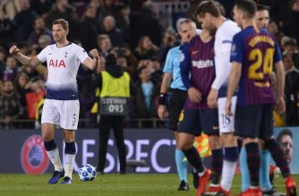 Tottenham Hotspur's Belgian defender Jan Vertonghen celebrates their qualification for the next round during the UEFA Champions League group B football match between FC Barcelona and Tottenham Hotspur at the Camp Nou stadium in Barcelona on December 11, 2018. (Photo by Josep LAGO / AFP)