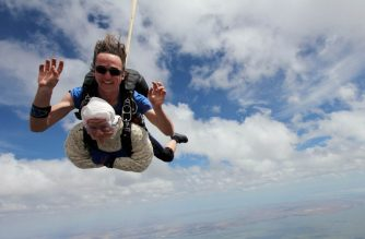 "This handout taken on December 9, 2018 and released by SA Skydiving shows 102-year-old great-grandmother Irene O'Shea during her skydive tandem jump over Wellington in South Australia. - A 102-year-old great-grandmother is believed to have become the world's oldest skydiver after plunging 14,000 feet (4,300 metres) through the South Australian sky. She completed her first skydive to mark her 100th birthday in 2016, but organisers claimed it was the successful tandem dive on December 9 at the age of 102 years and 194 days that earned her a place in the history books. (Photo by Bryce SELLICK and Matt TEAGER / SA Skydiving / AFP) / -----EDITORS NOTE --- RESTRICTED TO EDITORIAL USE - MANDATORY CREDIT ""AFP PHOTO / SA SKYDIVING  / BRYCE SELLICK & MATT TEAGER "" - NO MARKETING - NO ADVERTISING CAMPAIGNS - DISTRIBUTED AS A SERVICE TO CLIENTS - NO ARCHIVES"