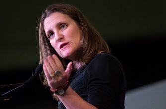 "(FILES) In this file photo taken on April 23, 2018, Canadian Foreign Minister Chrystia Freeland speaks during a media availability at the G7 Foreign Minister meeting in Toronto. - Freeland said on December 12, 2018, a second Canadian was being questioned by China, after Beijing earlier this week notified Ottawa it had detained a former Canadian diplomat. ""We are aware of a Canadian who got in touch with us because he was being asked questions by Chinese authorities,"" Foreign Minister Chrystia Freeland told a press conference. (Photo by Lars Hagberg / AFP)"