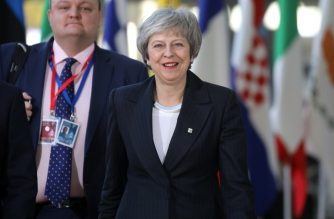 British prime minister Theresa May arrives on December 13, 2018 in Brussels for a European Summit aimed at discussing the Brexit deal, the long-term budget and the single market. - The 27 European leaders gather for a crucial European Union summit with the British Prime Minister seeking a compromise to save the Brexit deal. (Photo by Ludovic MARIN / AFP)