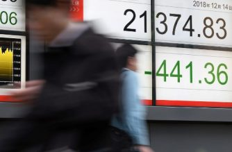 A pedestrian walks past an electronics stock indicator in the window of a securities company in Tokyo displaying the closing rate for the Tokyo Stock Exchange on December 14, 2018. - The benchmark Nikkei 225 index on December 14 dropped 2.02 percent, or 441.36 points, to end at 21,374.83 after two days of rallies as investors locked in profits while awaiting fresh global data for clues on growth in major economies. (Photo by Toshifumi KITAMURA / AFP)