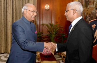"In this handout photograph received from the Presidential Palace on December 17, 2018, President of Republic of Maldives Ibrahim Mohamed Solih (R) shakes hands with President of India Ram Nath Kovind at Rashtrapati Bhavan in New Delhi. - The new Maldives President, seen as closer to the West and India than his predecessor, secured $1.4 billion from New Delhi on December 17 in his first visit abroad to his country's ""closest friend"". (Photo by Handout / RBI / AFP) / -----EDITORS NOTE --- RESTRICTED TO EDITORIAL USE - MANDATORY CREDIT ""AFP PHOTO / RESIDENTIAL PALACE "" - NO MARKETING - NO ADVERTISING CAMPAIGNS - DISTRIBUTED AS A SERVICE TO CLIENTS  - NO ARCHIVE"