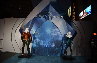 """HOLLYWOOD, CALIFORNIA - DECEMBER 12: Displays and signage are seen during the premiere of Warner Bros. Pictures' """"Aquaman"""" at TCL Chinese Theatre on December 12, 2018 in Hollywood, California.   Kevin Winter/Getty Images/AFP"""