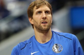 DALLAS, TX - OCTOBER 18: Dirk Nowitzki #41 of the Dallas Mavericks at American Airlines Center on October 18, 2017 in Dallas, Texas. NOTE TO USER: User expressly acknowledges and agrees that, by downloading and or using this photograph, User is consenting to the terms and conditions of the Getty Images License Agreement.   Ronald Martinez/Getty Images/AFP