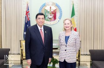 Australian Ambassador to the Philippines, Her Excellency Amanda Gorely with Iglesia Ni Cristo (Church Of Christ) Executive Minister Brother Eduardo V. Manalo during the ambassador's farewell courtesy call to the INC leader at the INC Central Office in Quezon City on Monday, December 10 (INC-PIO photo)