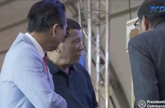 President Rodrigo  Duterte leads the 85th anniversary of the Department of Labor and Employment (DOLE) at The Forum within the Philippine International Convention Center (PICC) Grounds in Pasay City on December 6, 2018.  (Photo grabbed from RTVM video)