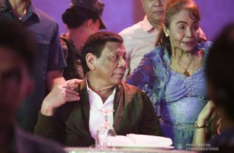 President Rodrigo Roa Duterte poses with Ms. Dionisia Pacquiao, during Senator Emmanuel Pacquiao's birthday celebration at the KCC Convention and Events Center in General Santos City on December 17, 2018. TOTO LOZANO/PRESIDENTIAL PHOTO