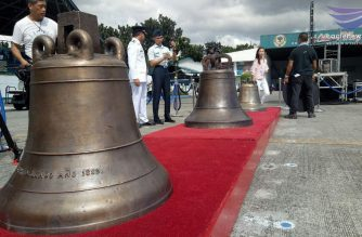 The Balangiga bells on display at the Villamor Airbase in Pasay upon their arrival in the country on Tuesday, Dec. 11./Mar Gabriel/Eagle News Service/
