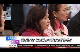 Speaker GMA walang nakikitang conflict sa suporta ng kamara kay Pangulong Duterte