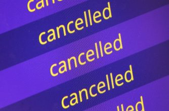 A destination board displays cancelled flights at the airport in Frankfurt am Main, Germany, on April 10, 2018 as 'warning strikes' by German public sector workers hit transport and other sectors. - Tens of thousands of air passengers were stranded as Europe aviation giants Lufthansa and Air France were hit by strikes that crippled traffic at several major European airports. (Photo by Daniel ROLAND / AFP)