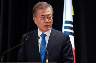 South Korea's President Moon Jae-in attends a joint press conference in Auckland with New Zealand Prime Minister Jacinda Adern (not pictured) on December 4, 2018. - North Korean leader Kim Jong Un could still visit Seoul before the end of the year, Moon said, describing the possible trip as a major boost in efforts to make the peninsula nuclear-free. (Photo by Diego OPATOWSKI / AFP)