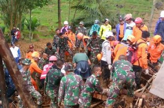 """This handout picture taken and released by Indonesia's Badan Nasional Penanggulangan Bencana (BNPB), the accident mitigation agency, on January 1, 2019 shows rescue workers searching for survivors after a landslide triggered by heavy rain hit Sukabumi, West Java province. - Rescuers are searching for survivors after a landslide triggered by heavy rain left at least nine people dead and dozens missing in western Indonesia, an official said on January 1, 2019. (Photo by Handout / Badan Nasional Penanggulangan Bencana / AFP) / RESTRICTED TO EDITORIAL USE - MANDATORY CREDIT """"AFP PHOTO / Badan Nasional Penanggulangan Bencana (BNPB) """" - NO MARKETING NO ADVERTISING CAMPAIGNS - DISTRIBUTED AS A SERVICE TO CLIENTS"""