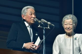 Japan's Emperor Akihito delivers his final New Year's address beside Empress Michiko during New Year's greetings to well-wishers at the Imperial Palace in Tokyo on January 2, 2019. - Japan's Emperor Akihito delivered his final New Year's address on January 2 before his abdication later this year, telling tens of thousands of well-wishers he was praying for peace. (Photo by Kazuhiro NOGI / AFP)