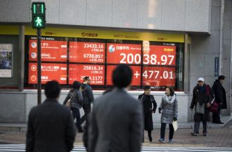 Pedestrians cross a street in front of a stock indicator board displaying share prices of the Tokyo Stock Exchange in Tokyo on January 7, 2019. - Tokyo stocks closed up more than two percent on January 7, 2019, after European and US markets roared last week on strong US data and dovish comments from the US Federal Reserve. (Photo by Behrouz MEHRI / AFP)