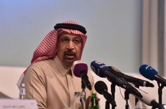 Saudi Energy Minister Khaled al-Faleh speaks at a press conference at the APSARC King Abdullah Petroleum Studies and Research Center in the capital Riyadh on January 9, 2019. - OPEC kingpin Saudi Arabia said on today it is slashing its oil exports by 800,000 barrels per day in January and promised more cuts as producers move to shore up tumbling prices. (Photo by Fayez Nureldine / AFP)
