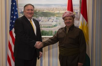 US Secretary of State Mike Pompeo (L) meets with Masoud Barzani leader of the Kurdistan Democratic Party (KDP) in the province's capital Arbil during a Middle East tour, on January 9, 2019. - The eight-day tour comes weeks after the US President announced that the United States would quickly pull its 2,000 soldiers out of Syria, declaring that IS -- also known as ISIS -- had been defeated. (Photo by Andrew CABALLERO-REYNOLDS / AFP)