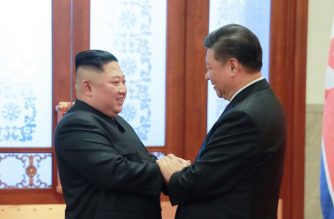 "This January 8, 2019 picture released by North Korea's official Korean Central News Agency (KCNA) on January 10 shows North Korea's leader Kim Jong Un (L) being greeted by China's President Xi Jinping (R) during a welcome ceremony at the Great Hall of the People in Beijing. (Photo by KCNA VIA KNS / KCNA VIA KNS / AFP) / - South Korea OUT / REPUBLIC OF KOREA OUT   ---EDITORS NOTE--- RESTRICTED TO EDITORIAL USE - MANDATORY CREDIT ""AFP PHOTO/KCNA VIA KNS"" - NO MARKETING NO ADVERTISING CAMPAIGNS - DISTRIBUTED AS A SERVICE TO CLIENTS THIS PICTURE WAS MADE AVAILABLE BY A THIRD PARTY. AFP CAN NOT INDEPENDENTLY VERIFY THE AUTHENTICITY, LOCATION, DATE AND CONTENT OF THIS IMAGE. THIS PHOTO IS DISTRIBUTED EXACTLY AS RECEIVED BY AFP. /"