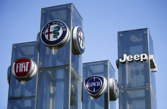 "(FILES) In this file photo taken on August 21, 2017,  a car dealer in Turin, Italy, shows the logos of Jeep, Fiat, Lancia and Alfa Romeo automobile company, brands of Fiat Chrysler Automobiles (FCA). - Fiat Chrysler agreed to a $515 million US settlement on charges it installed ""defeat devices"" on cars to evade emissions tests, the US Department of Justice announced on January 10, 2019. (Photo by Marco BERTORELLO / AFP)"