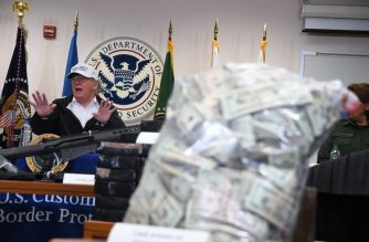 US President Donald Trump speaks during his visit to US Border Patrol McAllen Station in McAllen, Texas, on January 10, 2019. - Trump travels to the US-Mexico border as part of his all-out offensive to build a wall, a day after he stormed out of negotiations when Democratic opponents refused to agree to fund the project in exchange for an end to a painful government shutdown. (Photo by Jim WATSON / AFP)