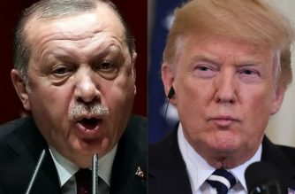 "(COMBO) This combination of file pictures created on August 11, 2018 shows Turkish President Recep Tayyip Erdogan (L) deliverling a speech during an AK party's group meeting at the AK Party's headquarters in Ankara, on January 26, 2018; and  US President Donald Trump (R) during a joint press conference with Italian Prime Minister Giuseppe Conte in the East Room of the White House in Washington, DC, July 30, 2018. - US President Donald Trump warned Turkey on Sunday, January 13, 2019 of economic devastation if it attacks Kurdish forces in the wake of the US troop pullout from Syria, while also urging the Kurds not to ""provoke"" Ankara. ""Will devastate Turkey economically if they hit Kurds,"" Trump tweeted, while pushing for the creation of a 20-mile (30-kilometer) safe zone. (Photos by ADEM ALTAN and SAUL LOEB / AFP)"