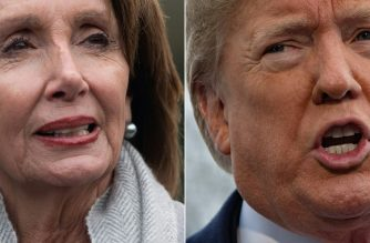 "(COMBO) This combination of file pictures created on January 17, 2019 shows a photo taken on January 9, 2019, of US Speaker of the House Nancy Pelosi , in Washington, DC and a photo taken on January 14, 2019, of US President Donald Trump in Washington, DC. - Pelosi prepared to fly commercially to Afghanistan after Trump blocked her from using military aircraft, but she delayed the trip on Friday after the administration leaked the plans, her office said. The State Department released an updated assessment stressing that Trump's announcement of the Pelosi travel ""had significantly increased the danger to the delegation and to the troops, security, and other officials supporting the trip,"" Hammill added. (Photos by SAUL LOEB and Jim WATSON / AFP)"