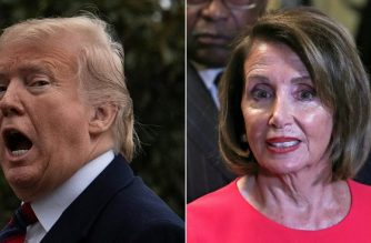 "(COMBO) This combination of file pictures created on January 20, 2019 shows US President Donald Trump as he arrives at the White House in Washington, DC, on January 19, 2019,and Speaker of the House Nancy Pelosi (D-NY) outside the House Chamber on Capitol Hill in Washington, DC on January 3, 2019. - US President Donald Trump bitterly attacked top Democrat Nancy Pelosi on January 20, 2019 after she rejected a deal on immigration and the Mexico border wall that would end a 30-day-old government shutdown. Pelosi, speaker of the House of Representatives, on January 19, 2019 called Trump's offer of temporary protections for about a million immigrants in return for $5.7 billion to fund the wall a ""non-starter.""""Nancy Pelosi has behaved so irrationally & has gone so far to the left that she has now officially become a Radical Democrat,"" Trump tweeted. ""She is so petrified of the 'lefties' in her party that she has lost control."" (Photos by Jim WATSON and Alex Edelman / AFP)"