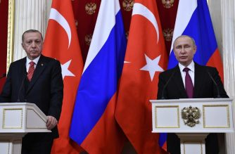 Russian President Vladimir Putin and his Turkish counterpart Recep Tayyip Erdogan hold a joint press conference following their meeting at the Kremlin in Moscow on January 23, 2019. (Photo by Alexander NEMENOV / various sources / AFP)