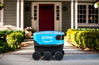 """This December 15, 2018, image courtesy of Amazon, shows the company's new delivery system robot """"Scout."""" - Amazon on January 23, 2019, began putting cooler-sized robots to work delivering packages to customers in a neighborhood outside Seattle. Electric-powered, wheeled delivery vehicles named """"Scout"""" were created by Amazon and guide themselves along sidewalks at a walking pace, according to Sean Scott, the vice president heading the project. (Photo by HO / Amazon / AFP) / RESTRICTED TO EDITORIAL USE - MANDATORY CREDIT """"AFP PHOTO / Amazon"""" - NO MARKETING NO ADVERTISING CAMPAIGNS - DISTRIBUTED AS A SERVICE TO CLIENTS"""