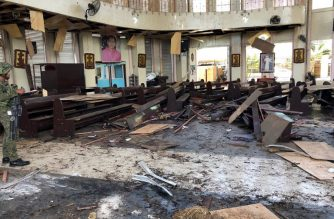 "This handout photo released by Armed Forces of the Philippines (AFP) Public Information Office (PIO) Western Mindanao Command (WESTMINCON) taken on January 27, 2019, shows debris inside a Catholic Church where two bombs exploded in Jolo, Sulu province on the southern island of Mindanao. - At least 17 people were killed as two bombs hit a church on a southern Philippine island that is a stronghold of Islamist militants, the military said, just days after a regional vote for a new Muslim autonomous region. The first blast occurred inside the Catholic church on war-torn Jolo on Sunday morning as mass was being celebrated, and was followed by a second explosion in the parking lot as troops responded, regional military spokesman Lieutenant Colonel Gerry Besana told AFP.  (Photo by HANDOUT / AFP) / RESTRICTED TO EDITORIAL USE - MANDATORY CREDIT ""AFP PHOTO - ARMED FORCES OF THE PHILIPPINES, WESTERN MINDANAO COMMAND"" - NO MARKETING NO ADVERTISING CAMPAIGNS - DISTRIBUTED AS A SERVICE TO CLIENTS"