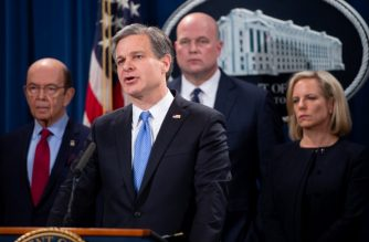 FBI Director Christopher Wray (2nd R) speaks alongside Acting US Attorney General Matthew Whitaker (2nd L), Secretary of Homeland Security Kirstjen Nielsen (R), and Commerce Secretary Wilbur Ross (L) as they announce a 13-count indictment of financial fraud charges against Chinese telecommunications manufacturer Huawei, as well as two affiliated companies and Huawei's Chief Financial Officer Meng Wanzhou, during a press conference at the Department of Justice in Washington, DC, January 28, 2019. (Photo by SAUL LOEB / AFP)