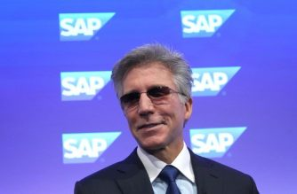 Bill McDermott CEO of German software company SAP addresses the media during the company's annual financial statement at their headquarters in Walldorf, Germany, on January 29, 2019. - German software giant SAP said it would launch a billion-euro restructuring plan after profits stagnated in 2018, while insisting it was on track to grow revenues and earnings this year. (Photo by Daniel ROLAND / AFP)